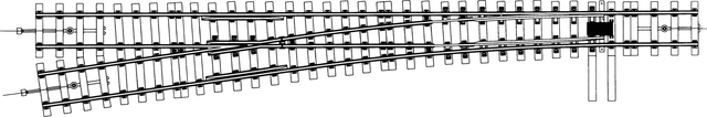 9111000  Aiguillage gauche Om (8,2°), écartement 22,2mm