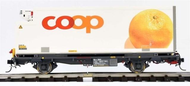 """9469113  RhB Lb-v 7853 conteneur COOP """"Orange"""" Om"""