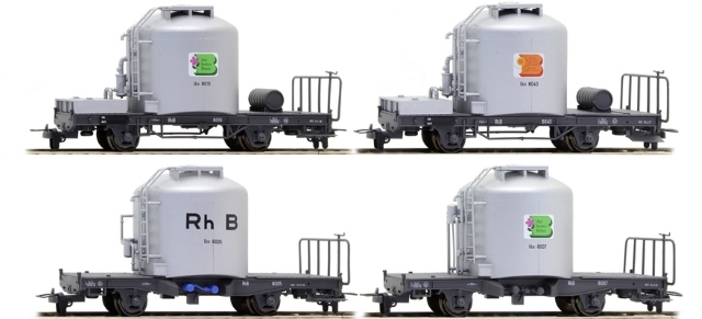 7459 110  RhB Set 4 wagons ciment Uce