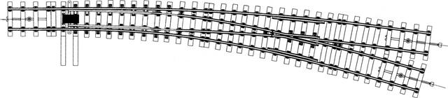 9112000  Aiguillage courbe droit Om, R1=1300mm, R2=2600mm, écartement 22,2mm