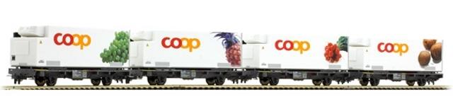 7469 111 RhB Set 4 wagons conteneurs COOP