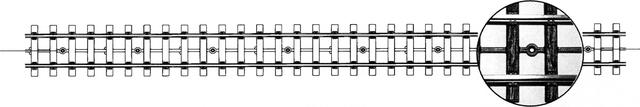 9101000  Voie flexible Om avec traverses imitation bois Kit 1m, écartement 22,2mm